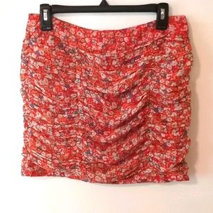 Forever 21 Red Ruched Pleated Floral Mini Skirt